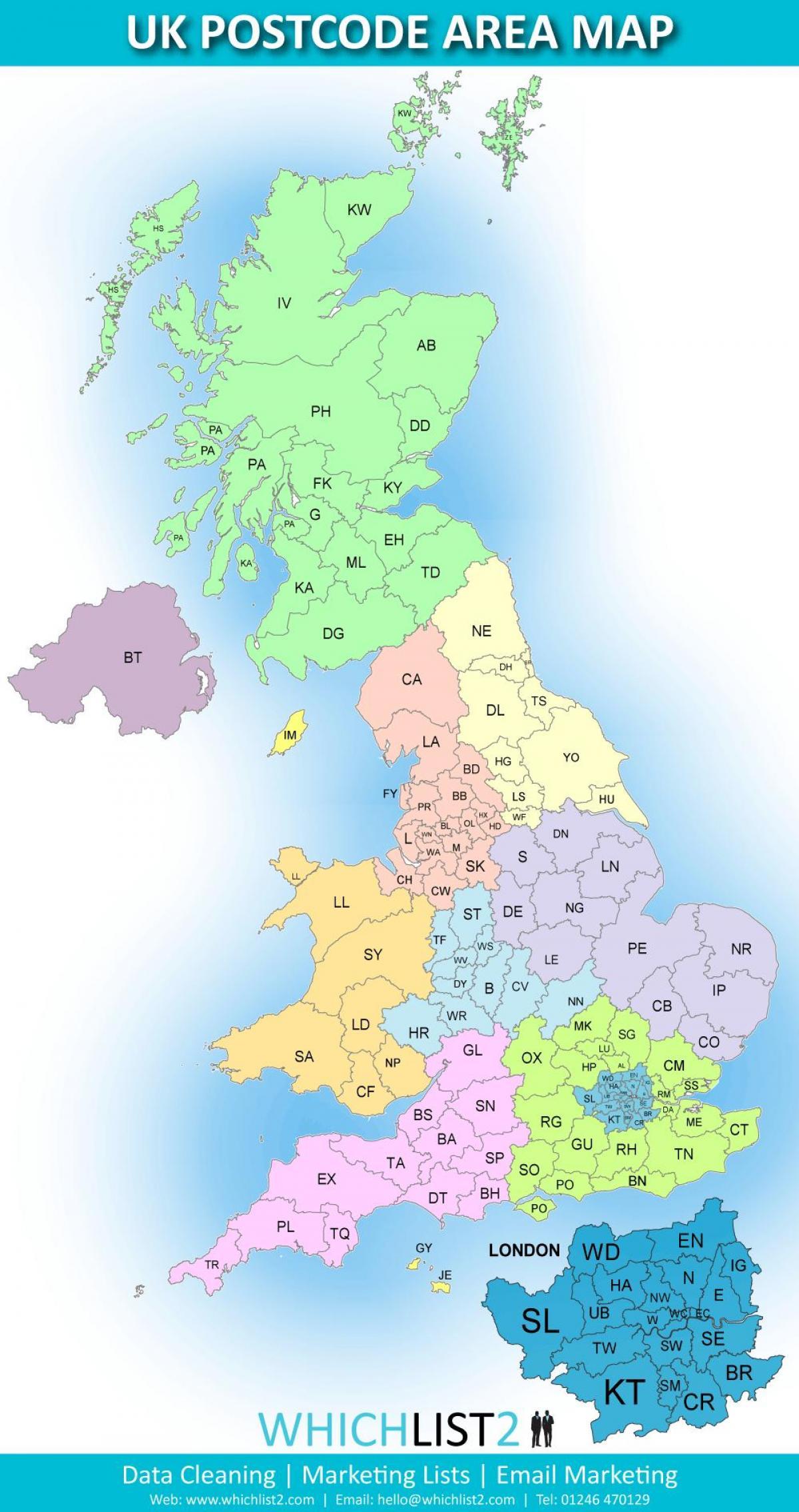 Plz Karte.Grossbritannien Plz Karte Uk Postleitzahlen Bereich Der