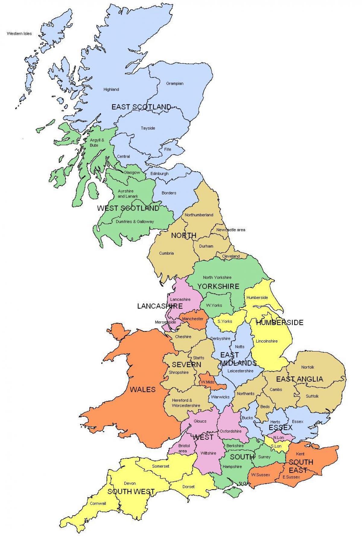 Karte Uk.Karte Uk Landkreise Regionen Grossbritannien Map Regionen