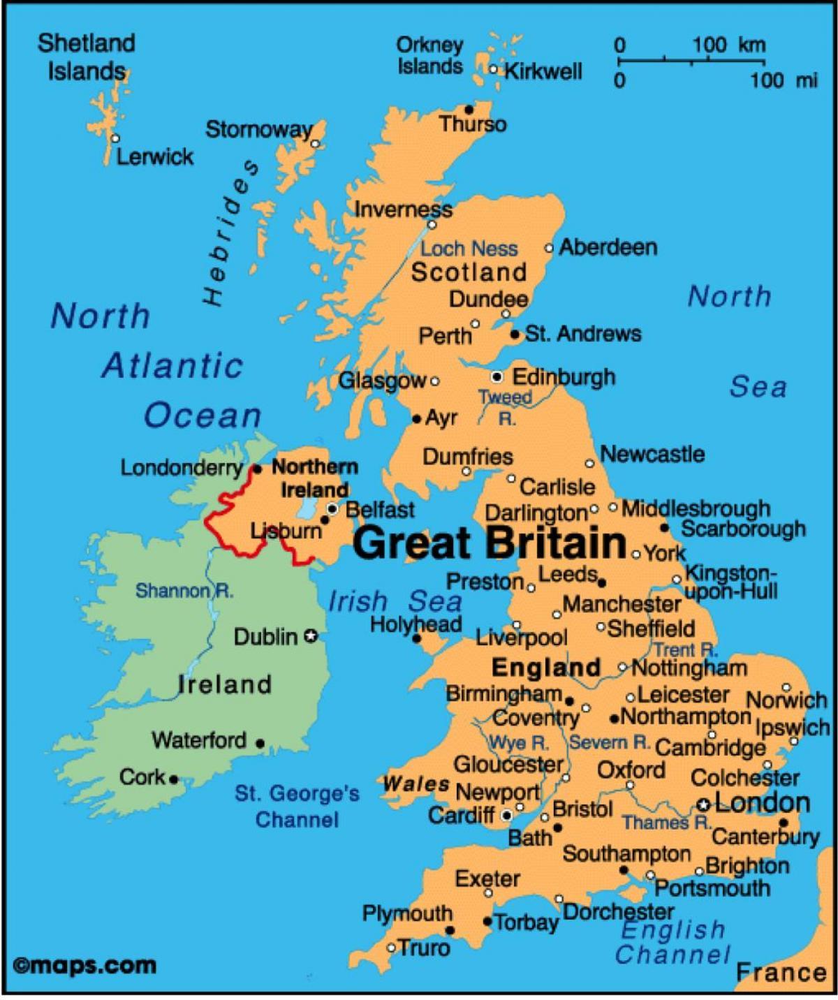 Karte Uk.Uk Maps Karte Anzeigen Von Grossbritannien Northern Europe