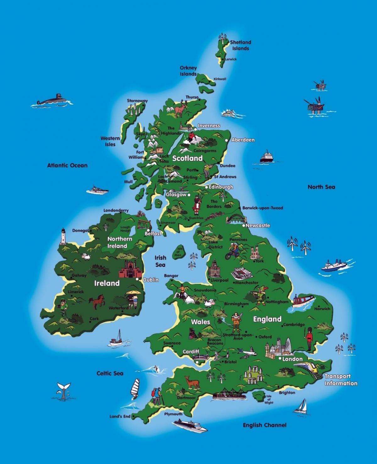 UK-Tourismus-Karte - Leere Karte von UK-Arbeitsblatt (Northern ...