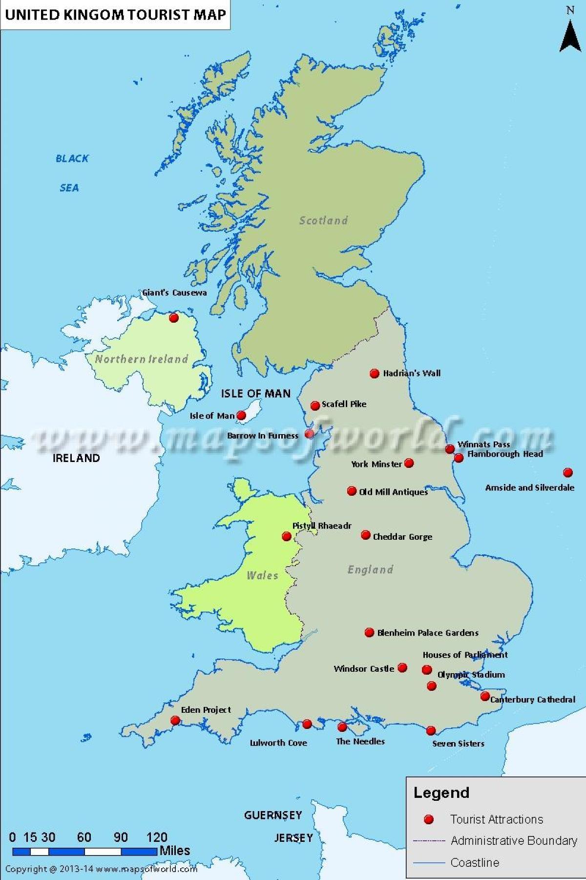 Sehenswürdigkeiten Großbritannien Karte.Uk Touristische Landkarte Mit Sehenswürdigkeiten Grossbritannien